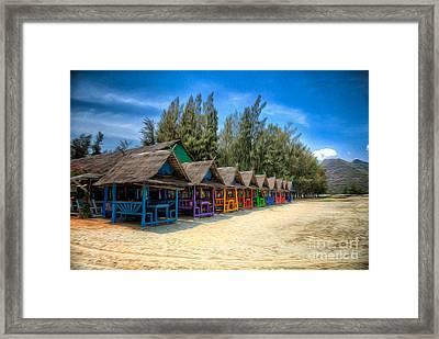 Bang Pu Beach Huts Framed Print by Adrian Evans