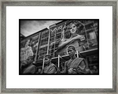 Bangkok Mall Monks Framed Print by David Longstreath