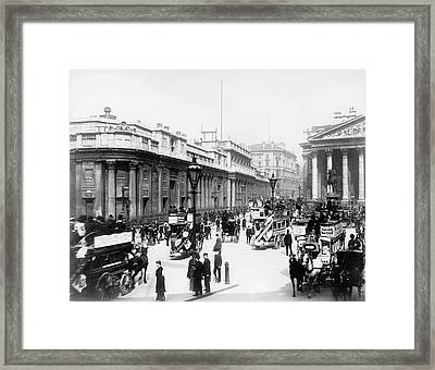 Bank Junction Horse-drawn Traffic Framed Print by Library Of Congress