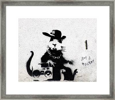 Banksy Boombox  Framed Print by A Rey
