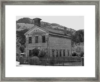 Bannack Masonic Hall Black And White Framed Print by Kae Cheatham