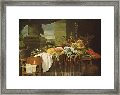 Banquet Still Life Oil On Canvas Framed Print by Andries Benedetti