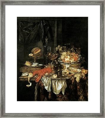 Banquet Still Life With A Mouse Framed Print by Abraham van Beyeren