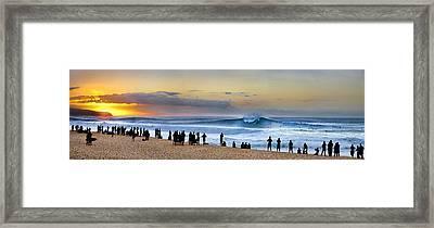 Banzai Sunset Framed Print by Sean Davey