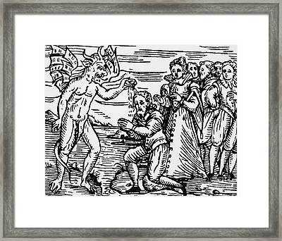 Baptism By The Devil Framed Print by Italian School