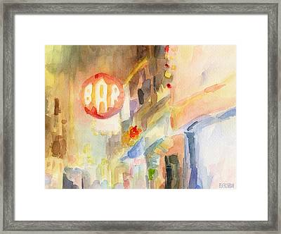 Bar 8th Avenue Watercolor Painting Of New York Framed Print by Beverly Brown Prints