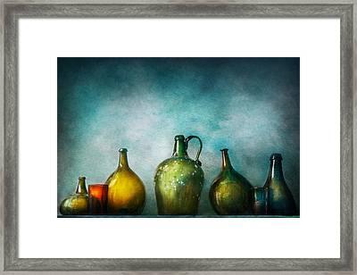 Bar - Bottles - Green Bottles  Framed Print by Mike Savad