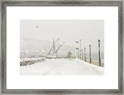 Bar Harbor Snowstorm And Fishing Boat Mount Desert Island Maine Framed Print by Keith Webber Jr