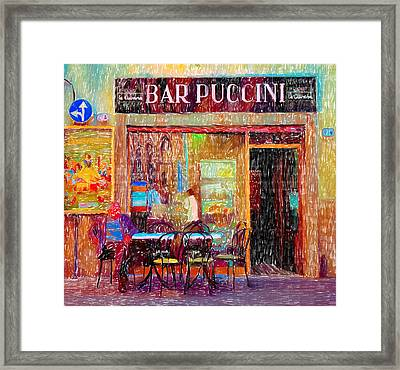 Bar Puccini Lucca Italy Framed Print by Wally Hampton