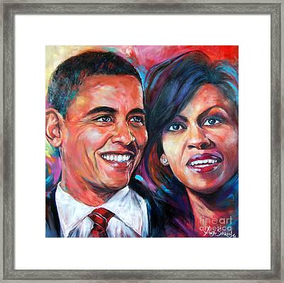Barack And Michelle Obama Framed Print by Anju Saran
