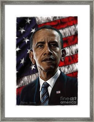 Barack Obama Framed Print by Andre Koekemoer