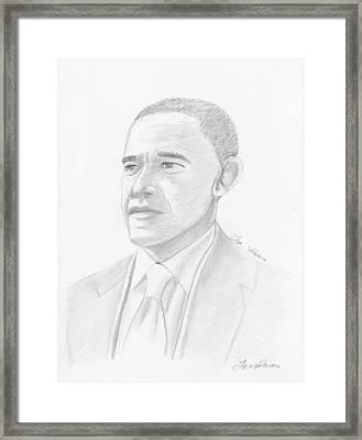 Barack Obama Framed Print by M Valeriano