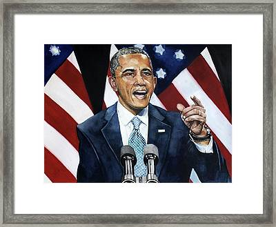 Barack Obama  Framed Print by Michael  Pattison