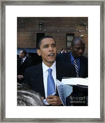 Barack Obama Nyc 4-9-07 Framed Print by Patrick Morgan