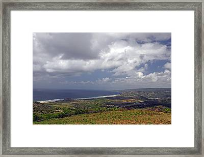 Barbados Countryside And The Sea Framed Print by Willie Harper
