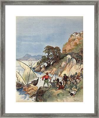 Barbary Pirates Terrorizing The Coast Framed Print by Albert Robida
