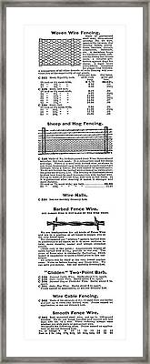 Barbed Wire Advertisement Framed Print by Granger