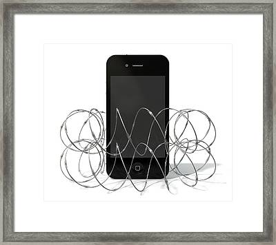 Barbed Wire Protected Smartphone Framed Print by Allan Swart