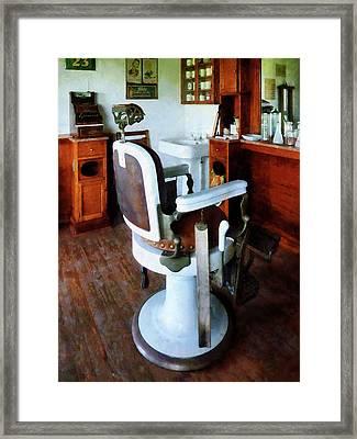 Barber - Barber Chair And Cash Register Framed Print by Susan Savad