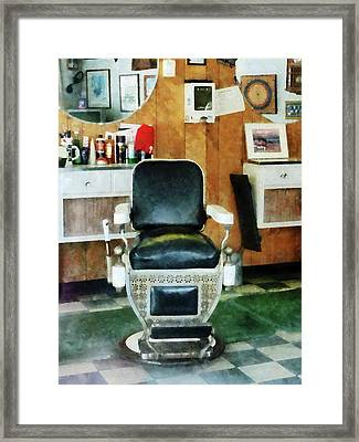 Barber - Barber Chair Front View Framed Print by Susan Savad