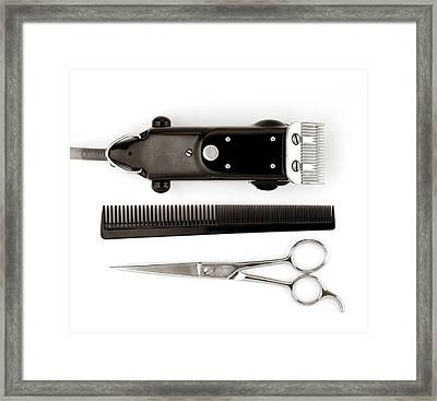 Barber Tools Framed Print by Jim Hughes