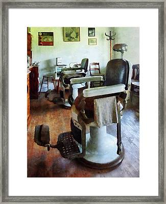 Barber - Two Barber Chairs Framed Print by Susan Savad