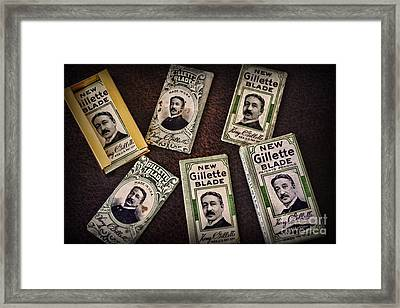Barber - Vintage Gillette Razor Blades Framed Print by Paul Ward
