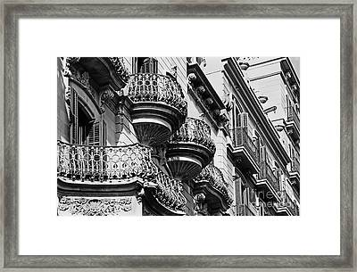 Barcelona Balconies Framed Print by Meleah Fotografie