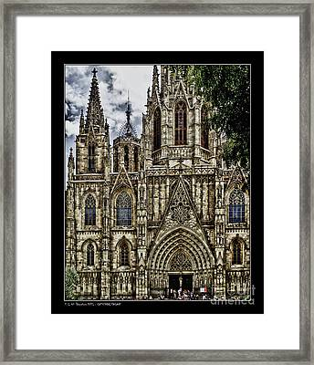 Barcelona Cathedral Facade Framed Print by Pedro L Gili