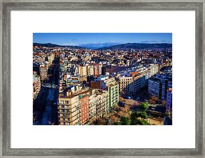 Barcelona From Sagrada Familia Framed Print by Joan Carroll