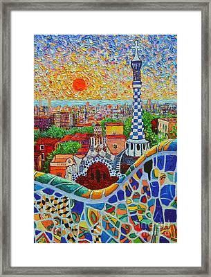 Barcelona Sunrise - Guell Park - Gaudi Tower Framed Print by Ana Maria Edulescu