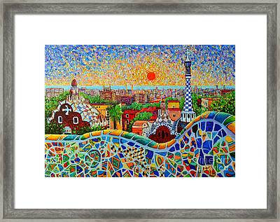 Barcelona View At Sunrise - Park Guell  Of Gaudi Framed Print by Ana Maria Edulescu