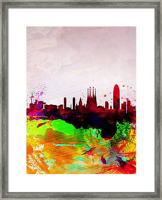 Barcelona Watercolor Skyline Framed Print by Naxart Studio