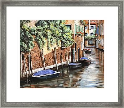 Barche A Venezia Framed Print by Guido Borelli