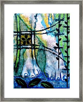 Barefoot In The Garden Framed Print by Maria Huntley