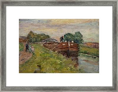 Barge And Figures Framed Print by Henri Duhem