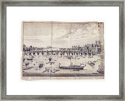 Barges At Westminster Bridge Framed Print by Library Of Congress