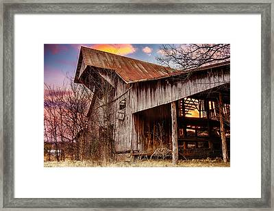Barn At Sunset Framed Print by Brett Engle