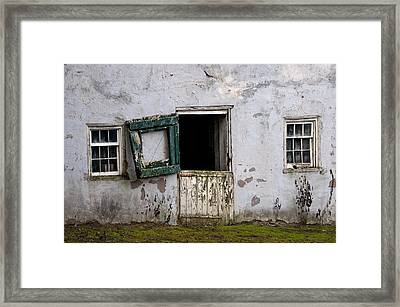 Barn Door In Need Of Repair Framed Print by Bill Cannon