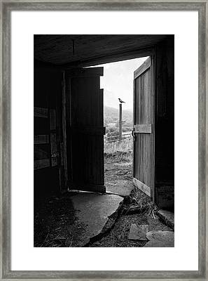 Barn Door - View From Within - Old Barn Picture Framed Print by Gary Heller