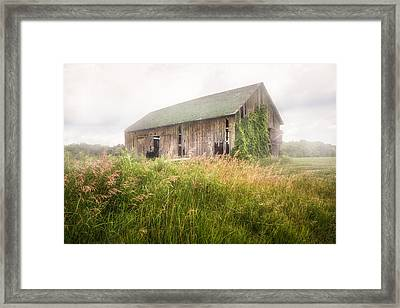 Barn In A Misty Field Framed Print by Gary Heller