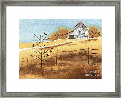 Barn In Autumn Framed Print by Beverly Claire Kaiya
