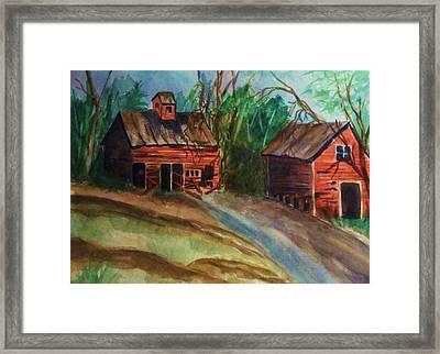 Barn - Old Dilapidated Red Barn Framed Print by Ellen Levinson