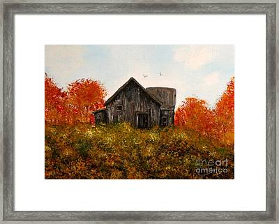 Barn Old Rusted And Deserted Framed Print by Gail Matthews