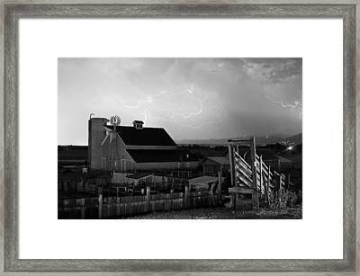 Barn On The Farm And Lightning Thunderstorm Bw Framed Print by James BO  Insogna