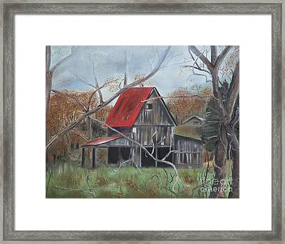 Barn - Red Roof - Autumn Framed Print by Jan Dappen