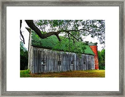 Barn With Brick Silo Framed Print by Julie Dant