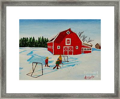 Barn Yard Hockey Framed Print by Anthony Dunphy