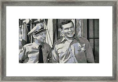 Barney Fife And Andy Taylor Framed Print by Paulette B Wright