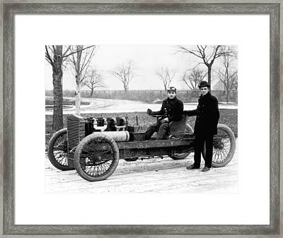 Barney Oldfield And Henry Ford Framed Print by Underwood Archives